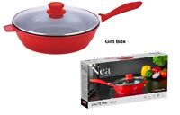 24cm Non Stick Die Cast Induction Saute Pan Frypan Skillet and Lid Nea Red/Black