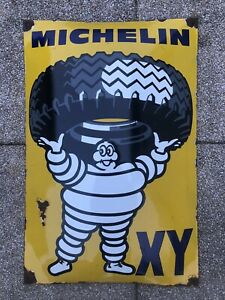 Old Michelin Tires Enamel Sign Large