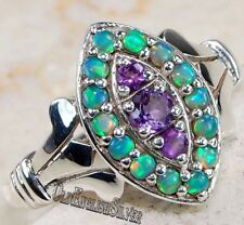 1CT Amethyst & Opal 925 Solid Sterling Silver Filigree Ring Jewelry Sz 8