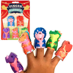 5 x DINOSAUR FINGER PUPPETS CHILDREN TOY PARTY BAG CHRISTMAS STOCKING FILLERS