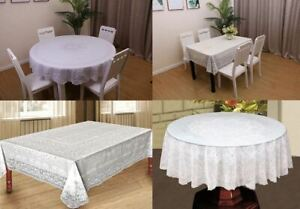 100% Vinyl White Embossed Lace Tablecloth Table Cover Oval Rectangle Square PVC