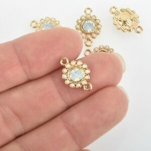 chs2912 10 Copper Rhinestone Connector Link Charms 15x7mm CLEAR Crystal in Center crystal drop charms