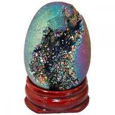 Shanxing Crystal Agate Geode Specimen,Titanium Coated Rainbow Egg Shape with Woo