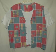 Fun Faux Pastel Patchwork Vest & White Top Set Koret Francisca Size L 1X 16 18