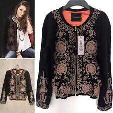 Rapsodia embroidered bohemian boho bomber jacket black orange metallic S $450