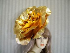 "18"" Big Gold Rose Fascinator Wedding Rose Hat Fascinator, Bridal Halloween Hat"