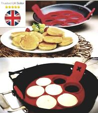 Antiaderente Stampo in Silicone Colazione Pancake Maker UOVO Anello FRITTATA FLIP strumento UK