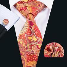 Hi-Tie New Design Red Floral Jacquard Mens Necktie Set For Weeding Groom SN-1631
