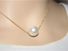 10mm Simple Pearl Gold Bib Choker Statement Collar Necklace Women Fashion