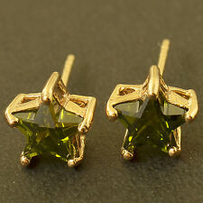 Korean Fashion Olive Green CZ yellow Gold Filled Star Womens small Stud Earrings