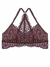 Fashion Floral Lace Bra Unpad Mesh Racerback Bralette Bustier Top Sheer Wireless