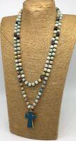 Fashion long knot Amazonite stone cross pendant woman necklace holiday gift