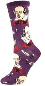 Socksmith Womens Crew Socks Shakespeare Purple Fun Novelty Footwear New