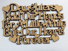 Daughters hold hands Plaque Cut Out 140x90mm Wooden Wood Mdf 3.2 Mm