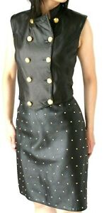 POSITANO BLACK LEATHER SUIT -  VEST and STUDDED SKIRT -  size 8-10