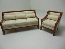 Dollhouse Miniatures Furniture 1/12: 3220ve-wn & 3221ve-wn Couch & Chair Set