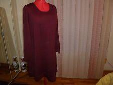 NWT $278 Eileen Fisher Long Sleeve Knee Length Jewel Neck Dress Burgundy size XL