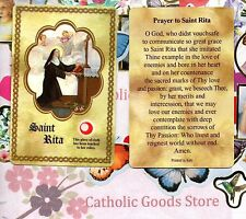 Saint St. Rita with Relic and Prayer - Relic Paperstock Holy Card
