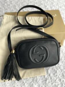 Gucci Uniform Black Pebbled Calfskin Mini Soho Disco Bag