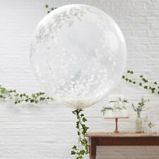 """GIANT WHITE Confetti BALLOONS 3 Pk ~ 36"""" INCH ~ Luxury ~Party Garland available"""