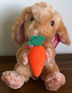 RUSS Berrie Brown Bunny Rabbit Soft Plush Toy With Carrot Medium Called Hoppity