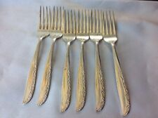 Wm A Rogers Brittany Rose 6 Silverplate Dinner Forks Oneida