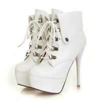 New Women's High Heel Stilettos Lace Up High Top Platform PU Leather Ankle Boots