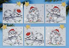 Cross Stitch Kit ~ Design Works Set of 6 Christmas Cats Ornaments PC #DW1684