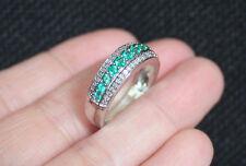 New 10K Sz7 Lab Emerald & Natural Diamond Wedding Cigar Band Ring White Gold