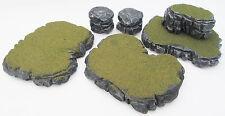 Warhammer 40k Tabletop WarGaming Terrain Grey Stone Plateau & Rocks Set F