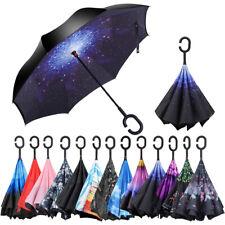 C-Handle Windproof Double Reverse Umbrella Layer Upside Down Inverted Folding