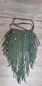 Green Fringe Suede Leather Handmade Embellished metal feather Art Bag braided