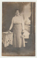 1910s Pretty Young Woman Lady in Dress Fashion Newspapers Female Girl Old Photo