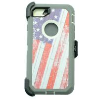 For Apple iPhone 7 Defender Case w/ (Belt Clip Fits Otterbox) USA Flag