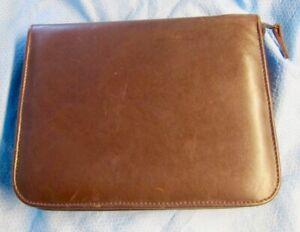 Genuine Brown Leather Carrying Case Pen & Pencils 24 Slots Zipper Closure