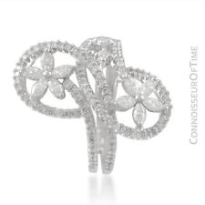 18K White Gold & Diamond Floral High Fashion Ring - 1.54 Carats
