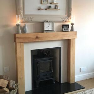 Oak Beam Fire Surround Wooden Fireplace Mantelpiece Upstands CONTEMPORARY