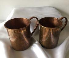 Vintage Paykoc Import Turkish Copper Tin Cups Set of 2 w Handles
