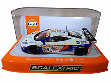 "Scalextric ""Gulf"" McLaren 12C GT3 DPR W/ Lights 1/32 Scale Slot Car C3716"