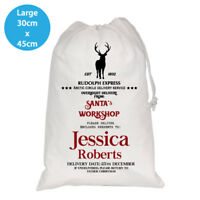 PERSONALISED CHRISTMAS WHITE SANTA KIDS SACK RUDOLPH EXPRESS LARGE 30X45CM BAG