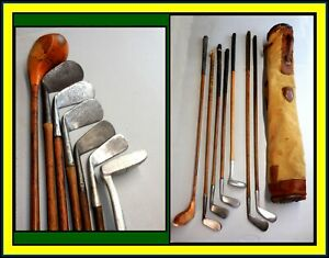 Antique Wood Shaft Golf Club Set of 7 Clubs FORGAN /Anderson/ Ball Face &Old Bag