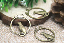 15pcs Cat and Mouse Charms bronze Tone Simply Adorable Round Pendants 32x26mm