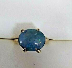 9ct Gold vintage unusual opal doublet ladies ring Beautiful opal doublet