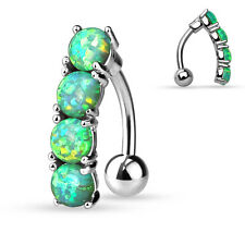 Reverse/Top Down Green OPAL Drop BELLY Button NAVEL RINGS Studs Piercing Jewelry