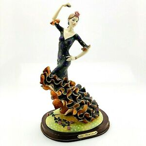 "Da Vinci Collection | Flamenco Dancer Figure on Wood Base | 14"" Tall"