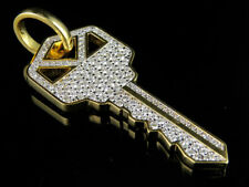 10K Yellow Gold Men's Real VS2 Diamond Designer Custom Key Pendant 2.0ct 2.2""