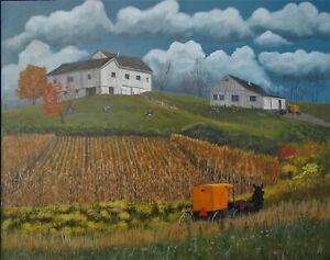 Ron Kucinski Autumn in Amish Country Farm Crops Buggy Acrylic Painting16x20