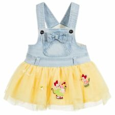 MAYORAL Yellow Denim Pinafore Tutu Dress Overalls Blue Bow 12M 12 Months NWT