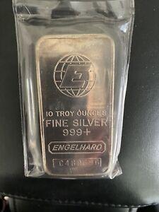 10 Troy ounces oz Engelhard Silver Bar .999 Fine Big E TEN Sealed