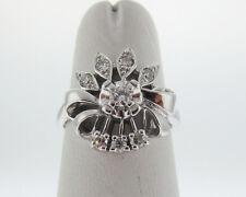 Estate Genuine Diamonds Solid 14k White Gold Ring FREE Sizing